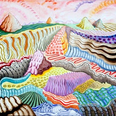 American Beauty, 14, bright multicolored surreal landscape painting, mountains