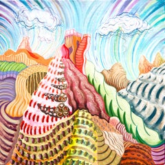 American Beauty, 15, bright multicolored surreal landscape painting, mountains