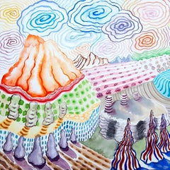 American Beauty, 23, surreal landscape painting on paper, bright patterns