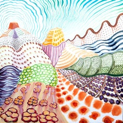 American Beauty, 24, surreal landscape painting on paper, bright patterns