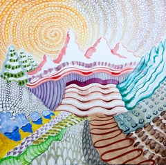 American Beauty, 25, surreal landscape painting on paper, bright patterns