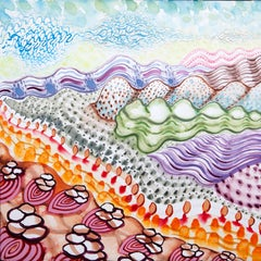 American Beauty, 26, surreal landscape painting on paper, bright patterns