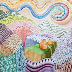 American Beauty, 27, surreal landscape painting on paper, bright patterns