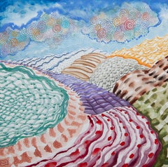 American Beauty, 28, surreal landscape painting on paper, bright patterns