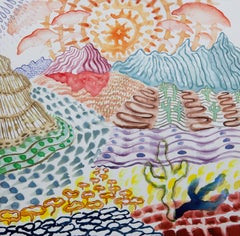 American Beauty, 29, surreal landscape painting on paper, bright patterns