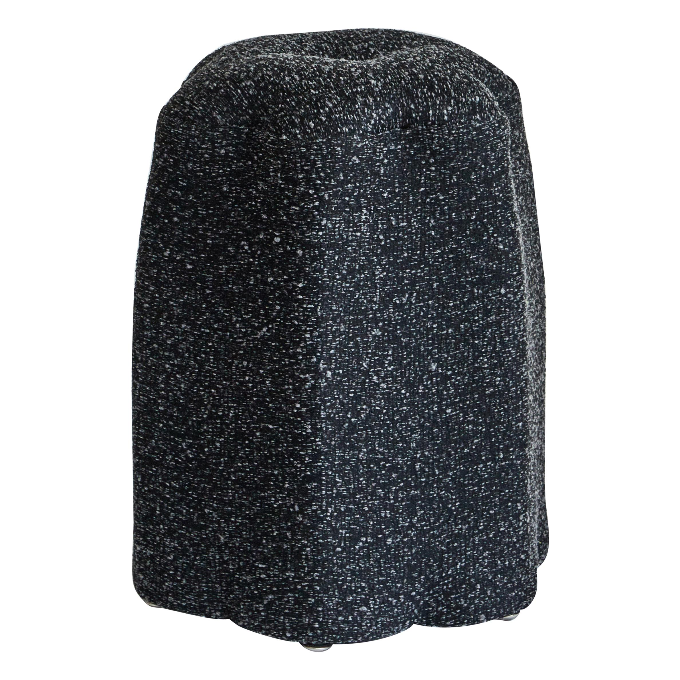Lily Stool, Charcoal Bouclé Stool by Christian Siriano