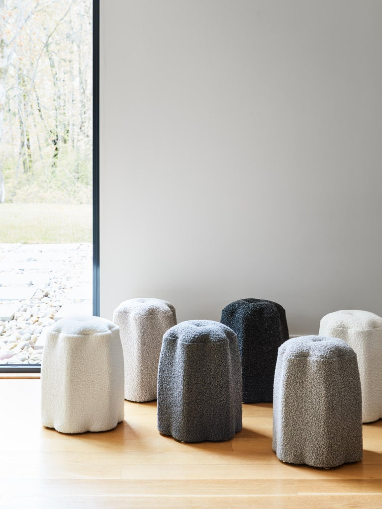 American Lily Stool, Dark Gray Bouclé Stool by Christian Siriano For Sale
