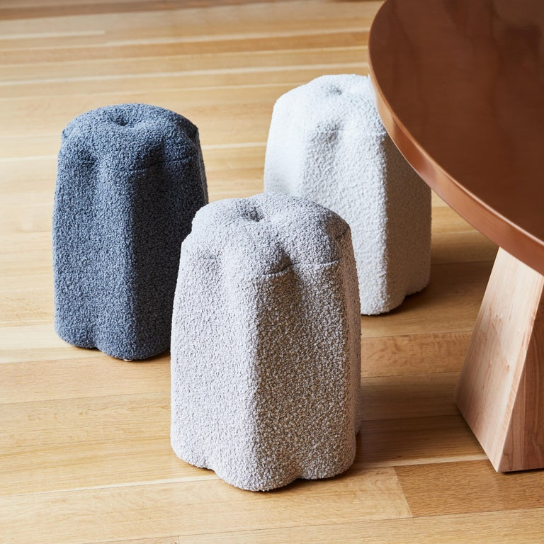 Lily Stool, Dark Gray Bouclé Stool by Christian Siriano In New Condition For Sale In New York, NY