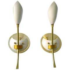 """Lily"" Themed White Enameled Brass Sconces with Brass Accents & Back Plate, Pair"