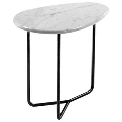 Lily White Carrara Gioia Marble Side Table by Marc Thorpe