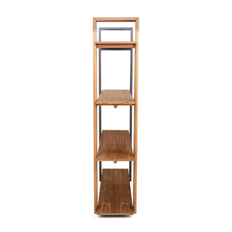 Brazilian Lim Bookcase in Teak and Black Metal For Sale