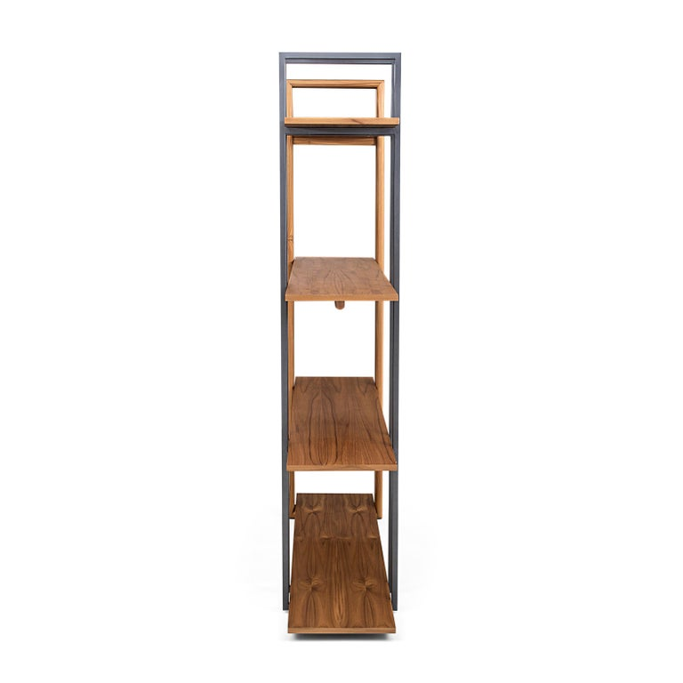 Lim Bookcase in Teak and Black Metal In New Condition For Sale In Miami, FL