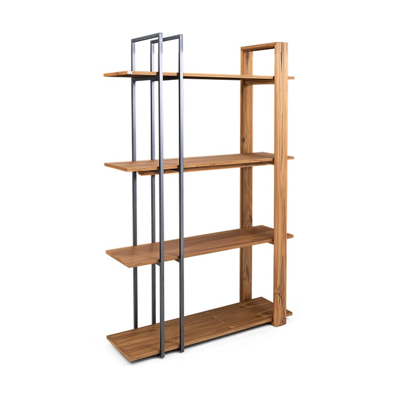 Contemporary Lim Bookcase in Teak and Black Metal For Sale