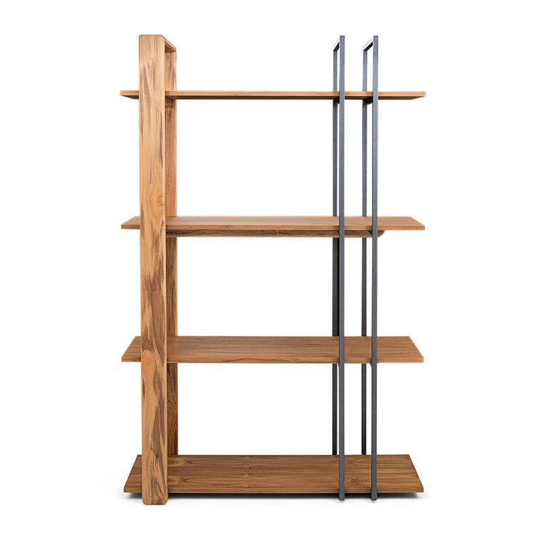 Lim Bookcase in Teak and Black Metal For Sale 1