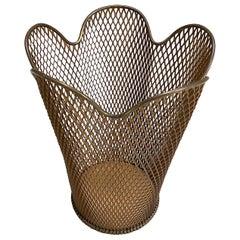 Lima Werk Viennese Perforated Brass and Steel Waste Basket, 1950s, Austria