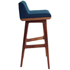 Limantour Contemporary Solid Wood and Upholstered Bar or Counter Stool by Luteca