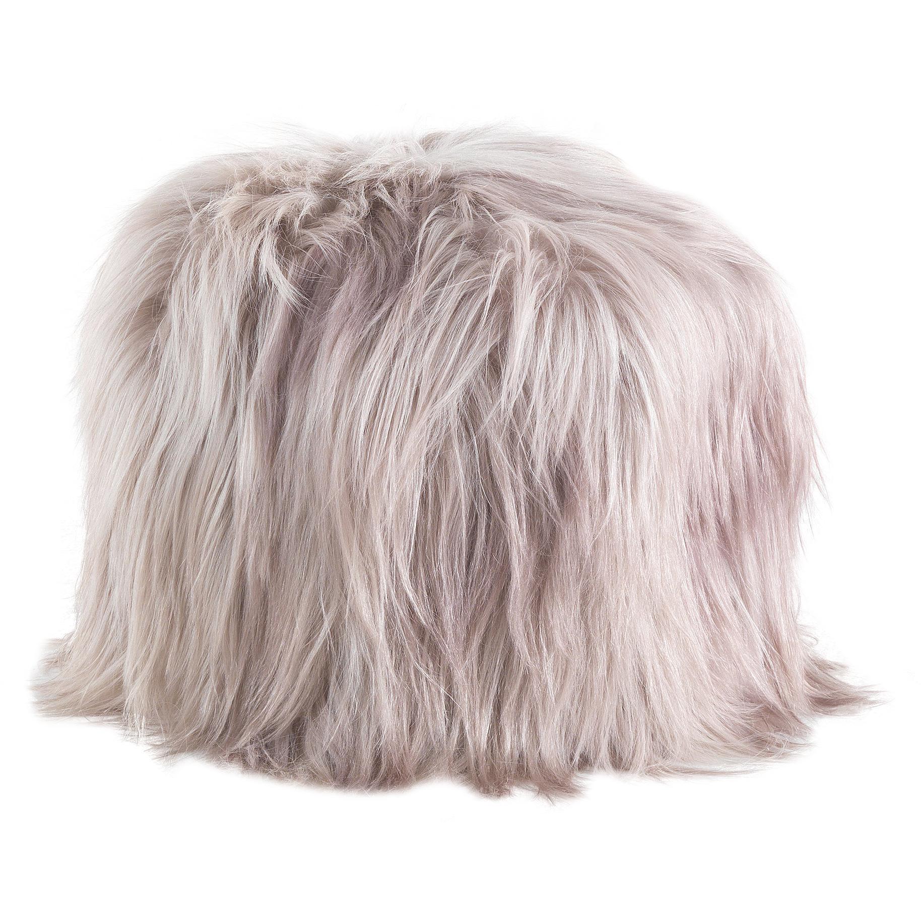 Limbo Beige Pouf in Fur by Roberto Cavalli Home Interiors