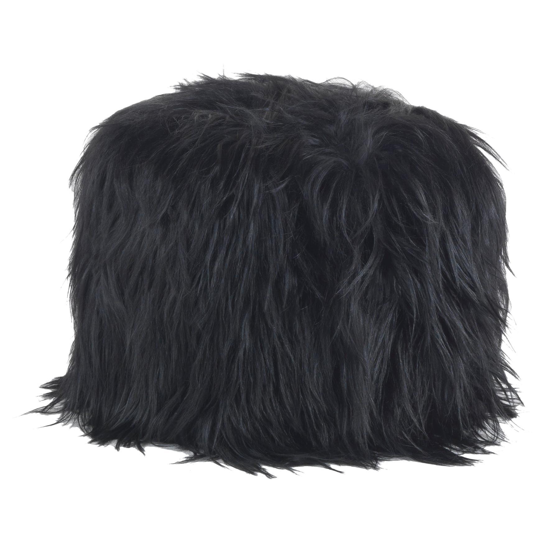 Limbo Black Pouf in Fur by Roberto Cavalli Home Interiors