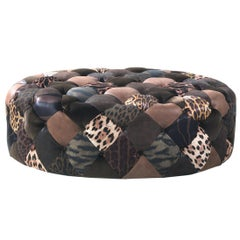 Limbo Large Round Pouf in Fabric and Leather by Roberto Cavalli Home Interiors