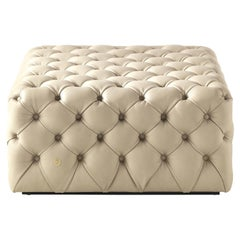 Limbo Large Square Pouf in Leather by Roberto Cavalli Home Interiors