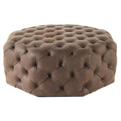 Limbo Octagonal Pouf in Leather by Roberto Cavalli