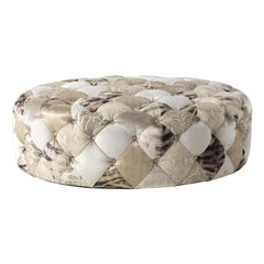 Limbo Oval Pouf in Fabric and Leather by Roberto Cavalli