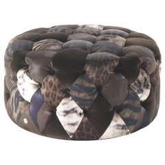 Limbo Small Round Pouf in Fabric and Leather by Roberto Cavalli