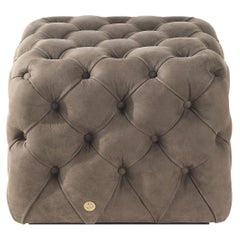 Limbo Small Square Pouf in Leather by Roberto Cavalli Home Interiors