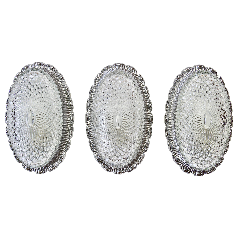 Limburg Elegant Vintage Crystal Glass and Nickel Flush Mount Wall Light Sconce