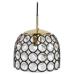 Limburg 1 of 3 Vintage Black Iron Rings Glass & Brass Pendant Lights Lamps