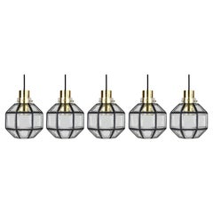 Limburg 1 of 5 Minimalist 'Iron' Clear Glass and Brass Geometric Pendant Lights