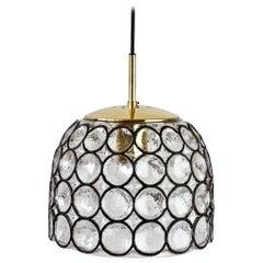 Limburg 1 of 5 Vintage Black Iron Rings Glass & Brass Pendant Lights Lamps