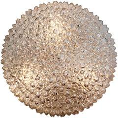 Limburg Vintage 1970s Large Organic Textured Clear Ice Crystal Glass Flush Mount