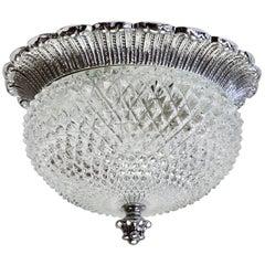 Limburg Elegant Vintage Crystal Glass and Nickel Flush Mount Wall Light