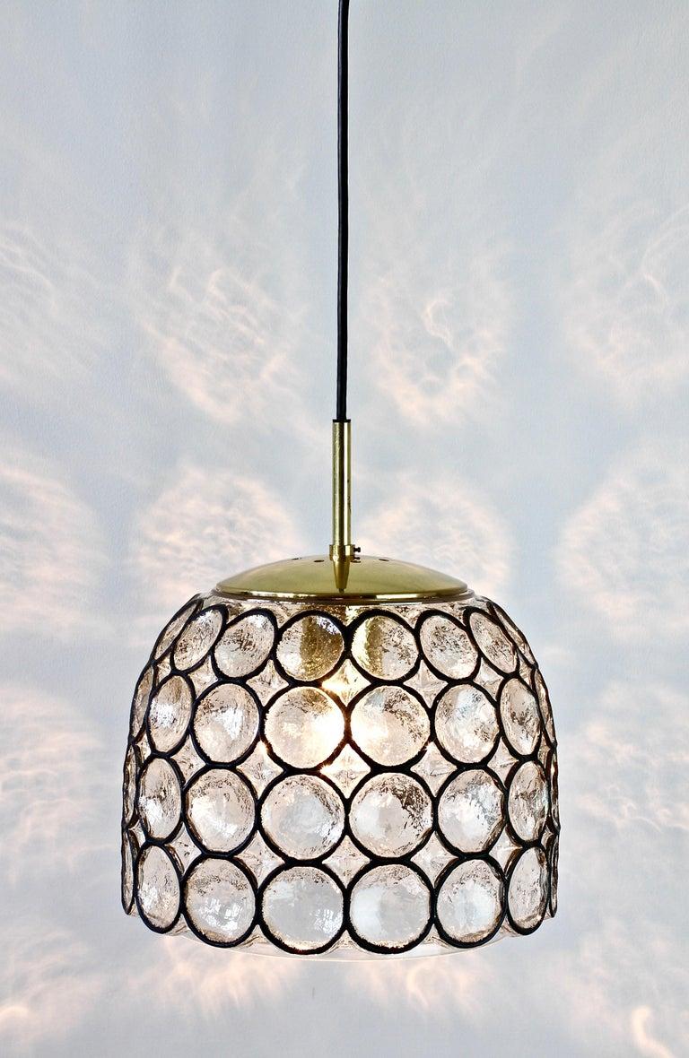 Mid-Century Modern 1 of 2 Limburg Glashütte Black Iron Rings Glass & Brass Pendant Lights/Lamps For Sale