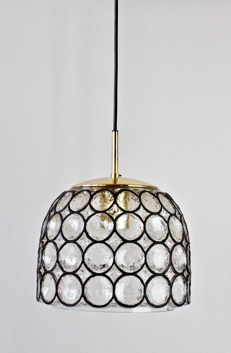 German 1 of 2 Limburg Glashütte Black Iron Rings Glass & Brass Pendant Lights/Lamps For Sale