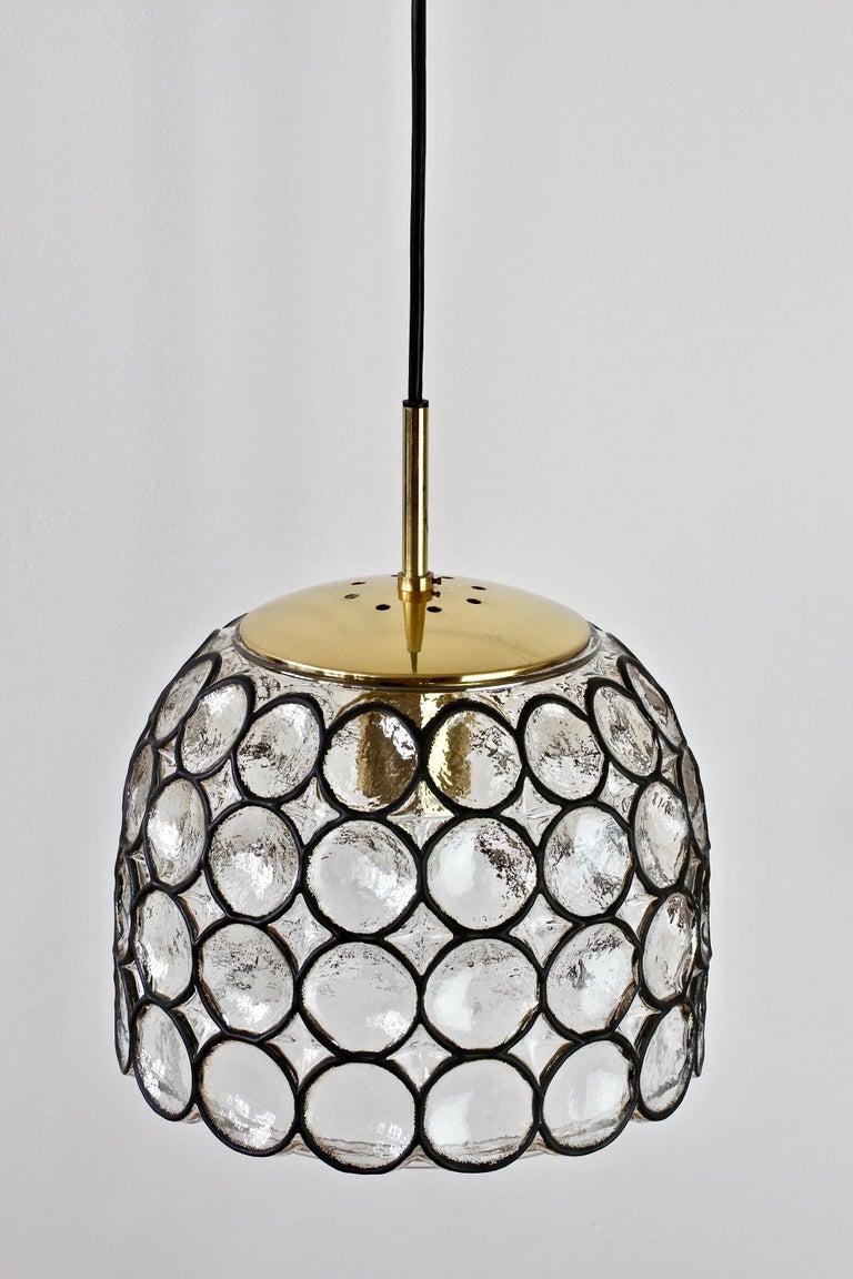 Molded 1 of 2 Limburg Glashütte Black Iron Rings Glass & Brass Pendant Lights/Lamps For Sale