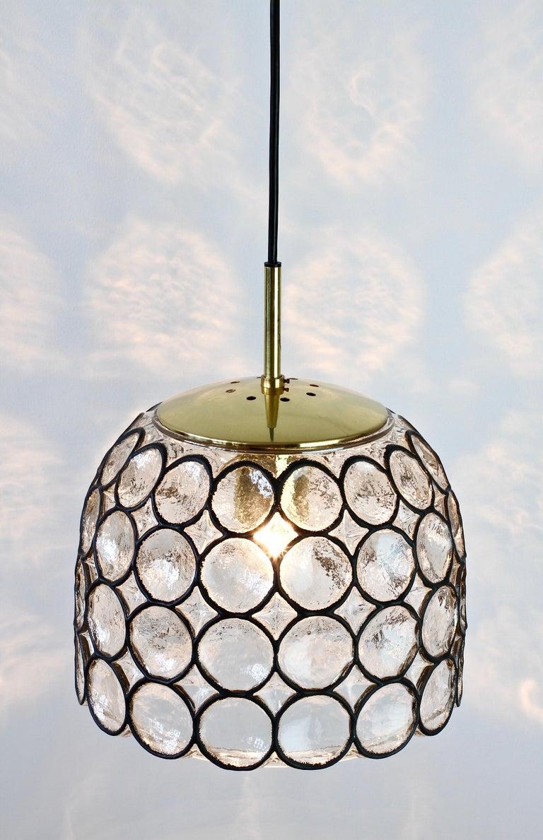 1 of 2 Limburg Glashütte Black Iron Rings Glass & Brass Pendant Lights/Lamps In Good Condition For Sale In Landau an der Isar, Bayern
