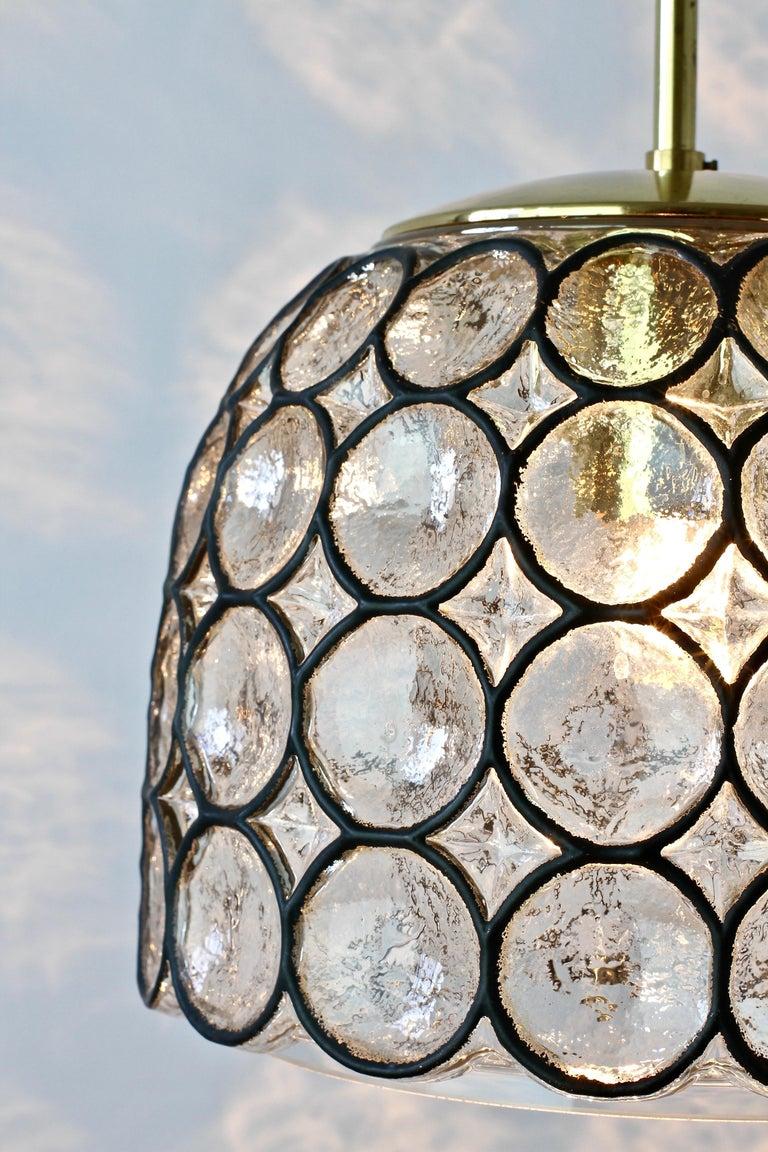 20th Century 1 of 2 Limburg Glashütte Black Iron Rings Glass & Brass Pendant Lights/Lamps For Sale