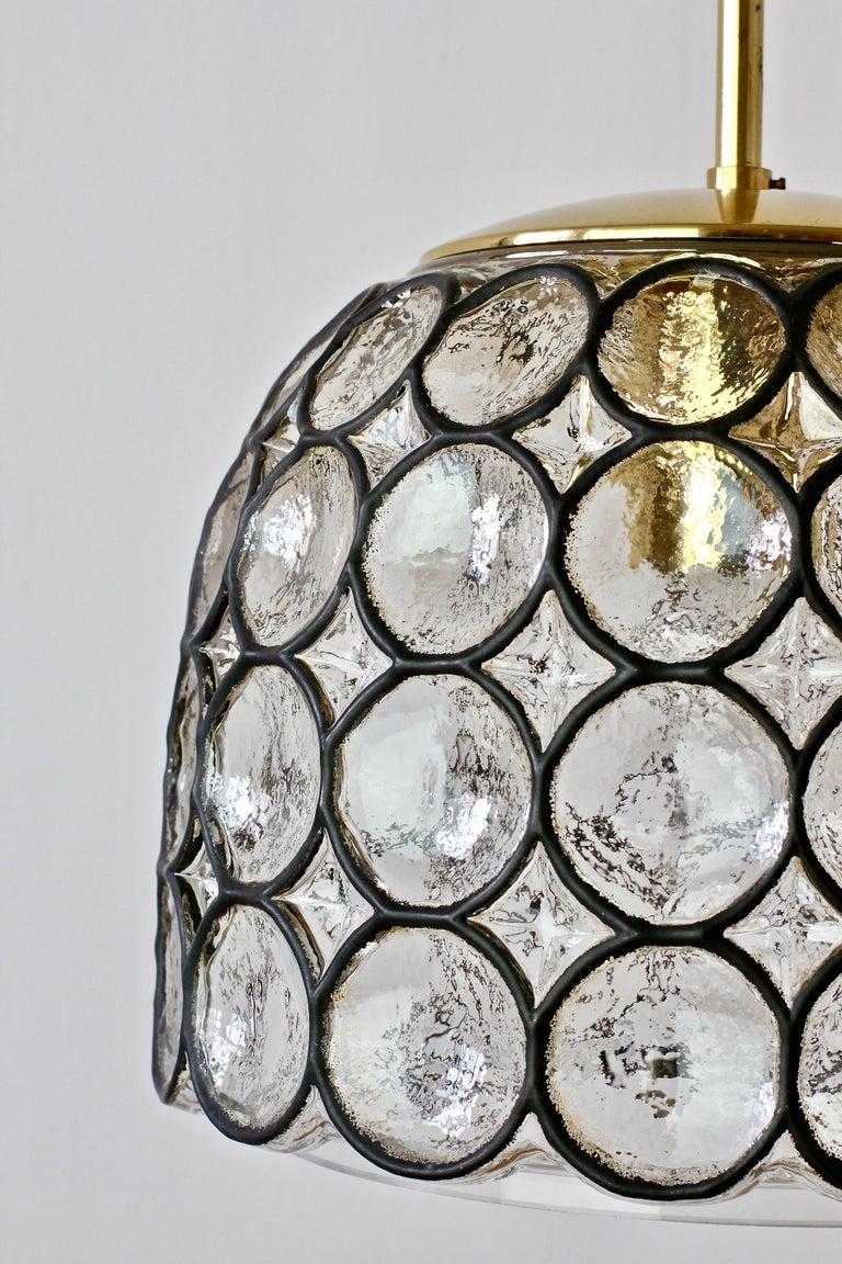 1 of 2 Limburg Glashütte Black Iron Rings Glass & Brass Pendant Lights/Lamps For Sale 1