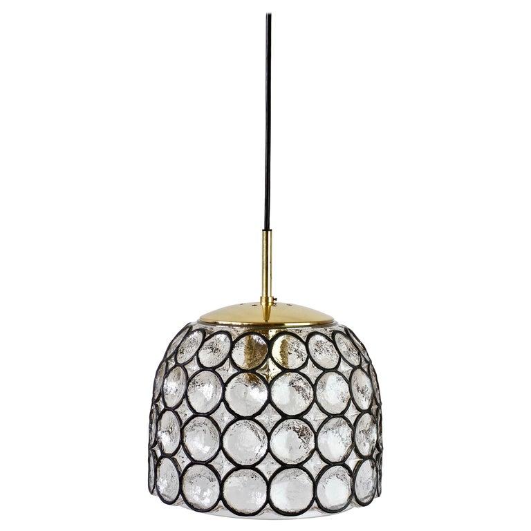 1 of 2 Limburg Glashütte Black Iron Rings Glass & Brass Pendant Lights/Lamps For Sale