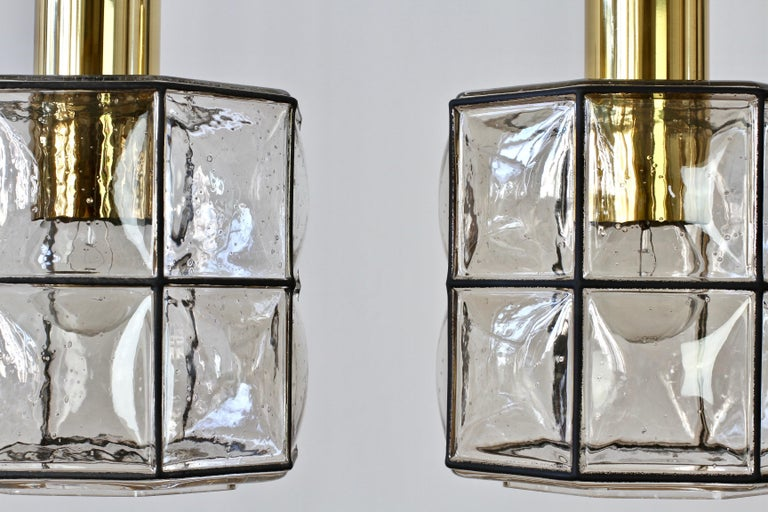 Limburg Glashütte Pair of Iron & Bubble Glass Vintage Pendant Lamps, circa 1960s For Sale 2