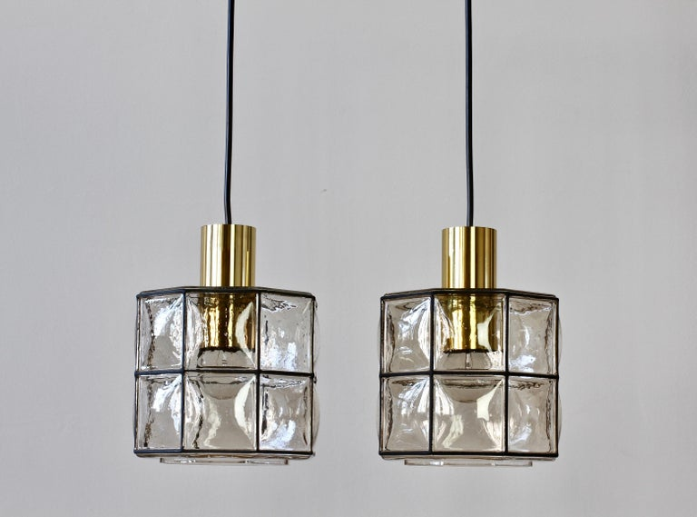 Limburg Glashütte Pair of Iron & Bubble Glass Vintage Pendant Lamps, circa 1960s For Sale 3