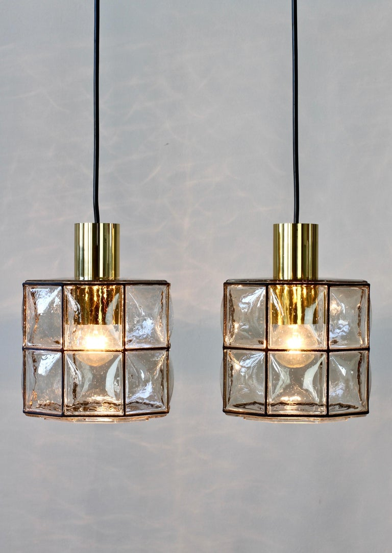 Limburg Glashütte Pair of Iron & Bubble Glass Vintage Pendant Lamps, circa 1960s For Sale 4