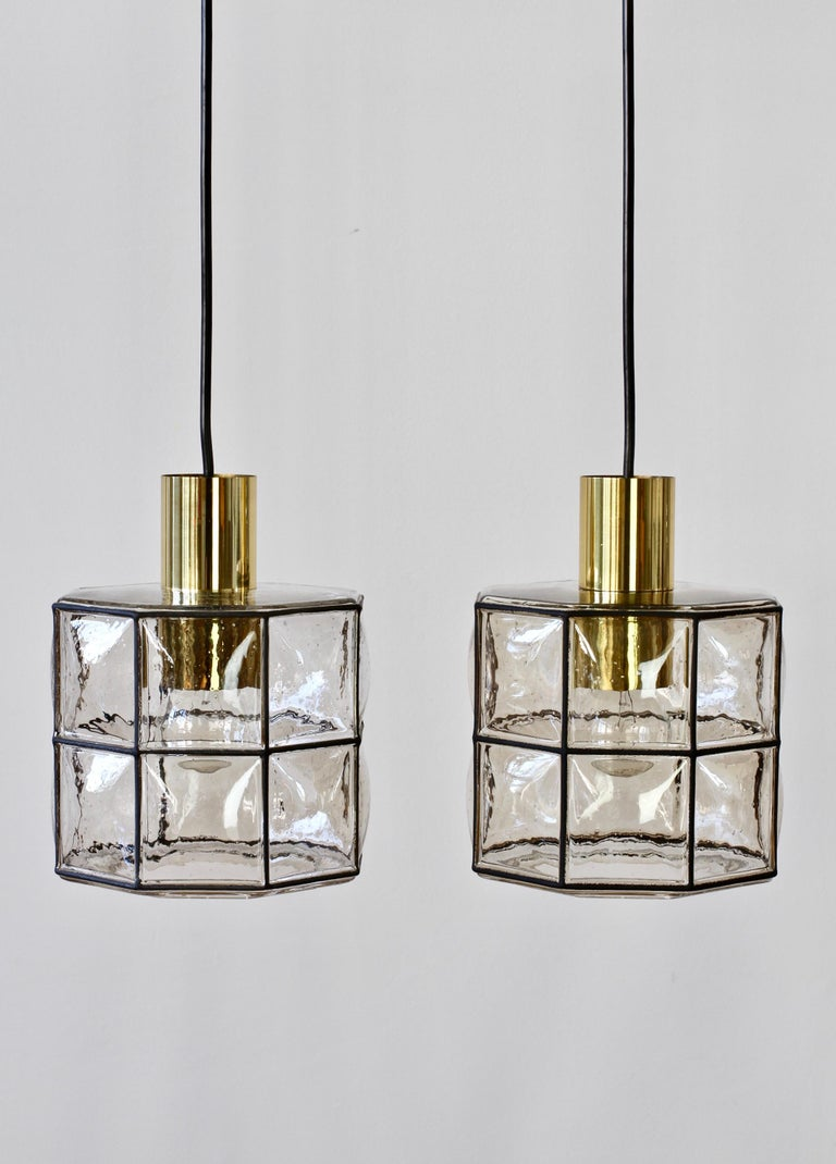 Limburg Glashütte Pair of Iron & Bubble Glass Vintage Pendant Lamps, circa 1960s For Sale 5
