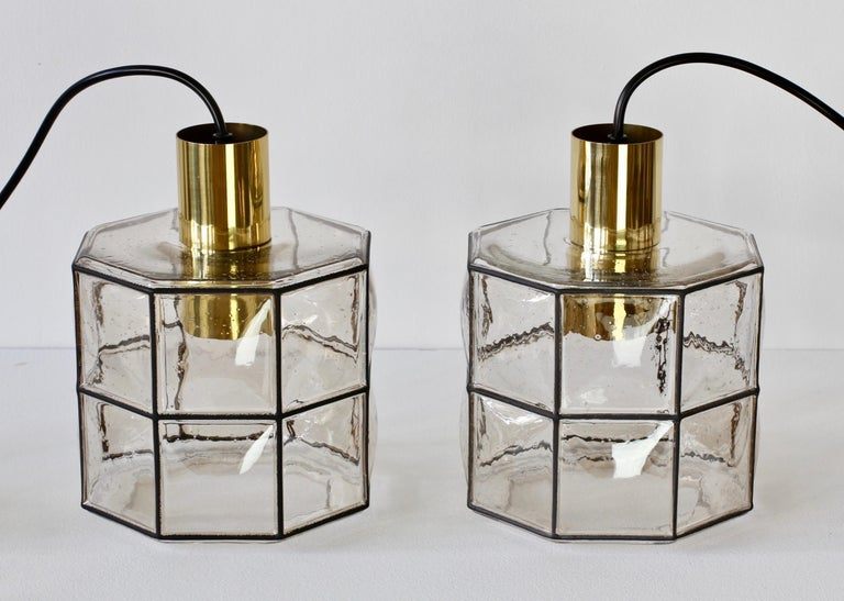 Limburg Glashütte Pair of Iron & Bubble Glass Vintage Pendant Lamps, circa 1960s For Sale 7