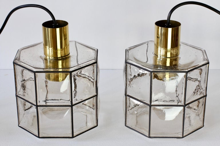 Limburg Glashütte Pair of Iron & Bubble Glass Vintage Pendant Lamps, circa 1960s For Sale 8