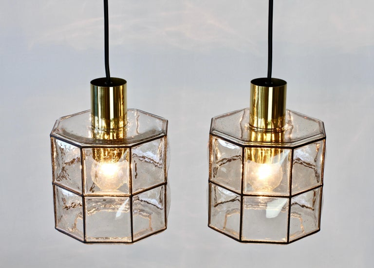 Mid-Century Modern Limburg Glashütte Pair of Iron & Bubble Glass Vintage Pendant Lamps, circa 1960s For Sale