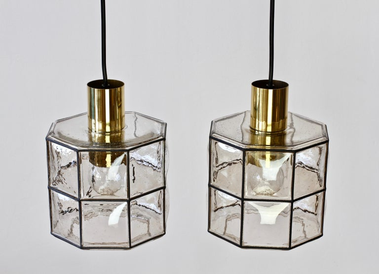 German Limburg Glashütte Pair of Iron & Bubble Glass Vintage Pendant Lamps, circa 1960s For Sale