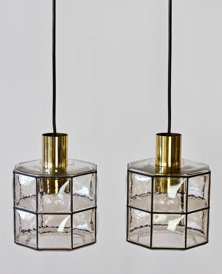 Molded Limburg Glashütte Pair of Iron & Bubble Glass Vintage Pendant Lamps, circa 1960s For Sale